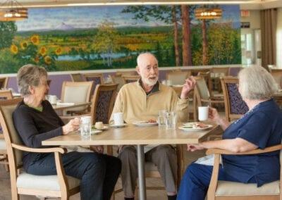 Residents having breakfast in dining