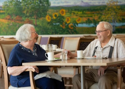 Resident couple having breakfast