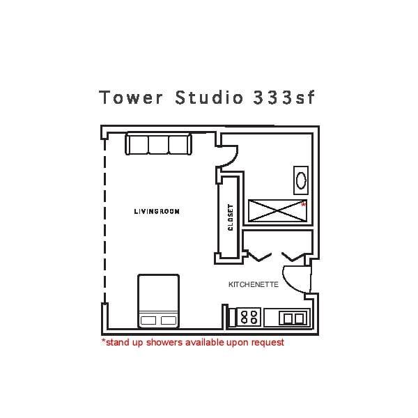 Tower Studio 333sf