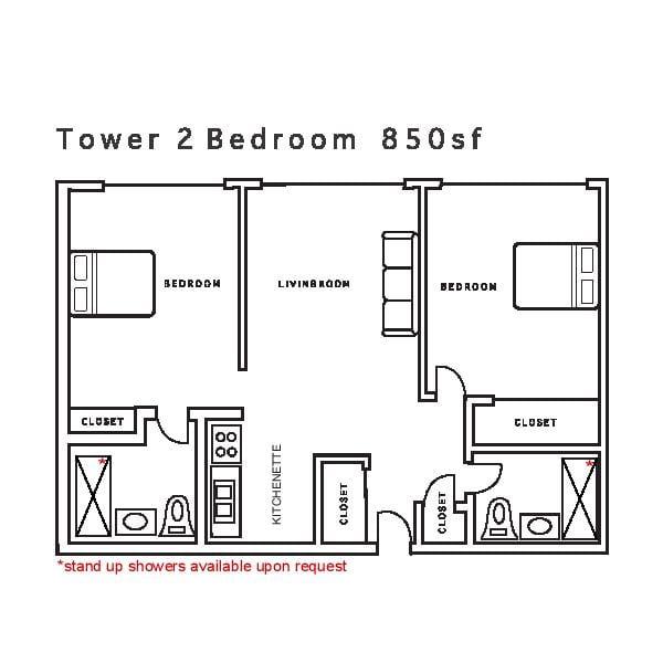 Tower 2 Bedroom 850sf