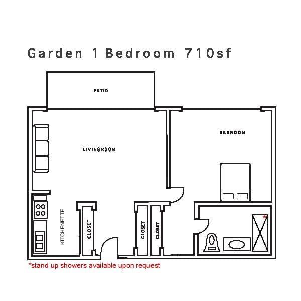 Garden 1 Bedroom 710sf