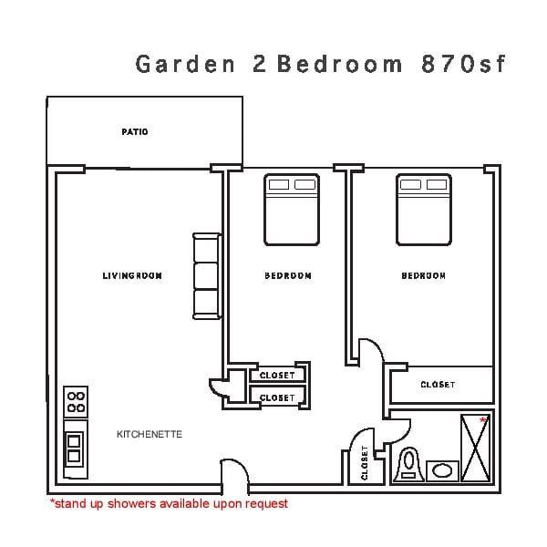Garden 2 Bedroom 870sf