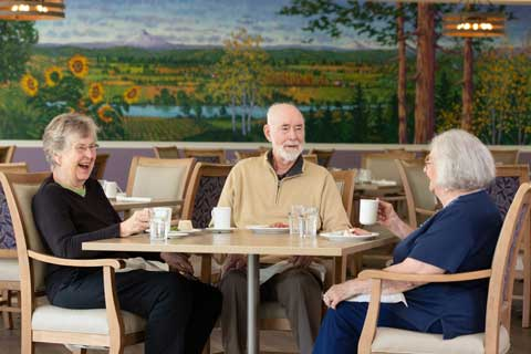 Elderly couple talking with another resident